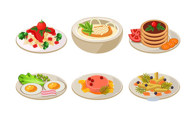 Flat vector set of plates with tasty food. Appetizing dishes for breakfast and dinner. Delicious meal
