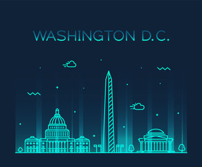 Wall Mural - Washington D. C. USA vector linear art style city