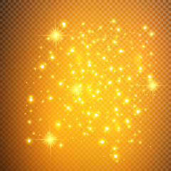 White sparks glitter special light effect. Vector sparkles on transparent background. Christmas abstract pattern. Sparkling magic dust particles