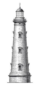 Vector High Detail Vintage Lighthouse Engraving