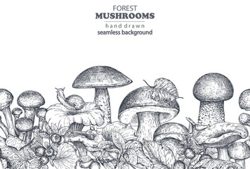 Vector seamless pattern with hand drawn forest mushrooms