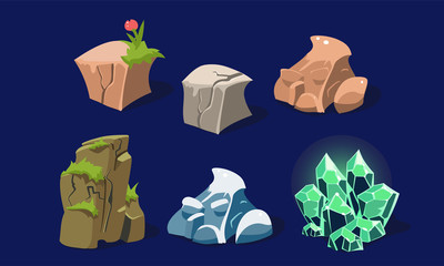 Stones and rocks set, user interface assets for mobile apps or video games details vector Illustration