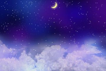 満天の星空に浮かぶ雲と新月