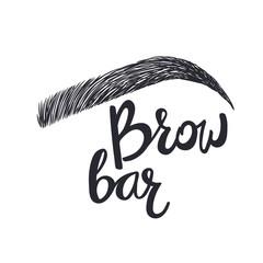 Design logo for brow bar. Brow Bar. Text and eyebrow
