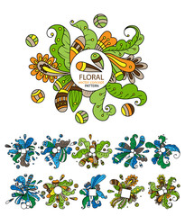 Vector set with abstract floral elements in flat style. Floral set, plants and herbs. Ornamental flowers. Vector flowers set. Colorful floral collection with leaves and flowers