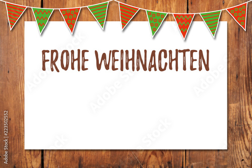 Frohe Weihnachten Rahmen.Frohe Weihnachten Rahmen Mit Wimpelkette Stock Photo And Royalty