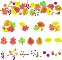 秋の葉と木の実のデコレーション