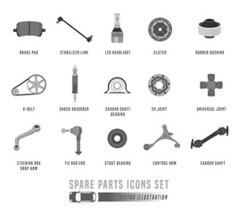 Spare Parts Icons Set