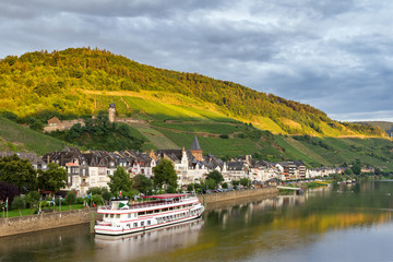 Beautiful wine growing town Zell (an der Mosel) at the river Moselle in Germany, a popular tourist river cruise destination
