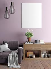 Mock up poster with vintage hipster minimalism loft interior.