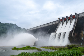 Wall Murals Dam Big Concrete Dam Drainage Much Water made a Big Flood