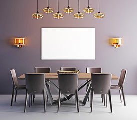 Mock up poster in dining room, contemporary background