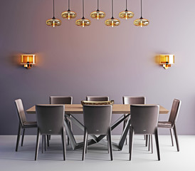 Room with contemporary dining table, white chairs and modern lamp