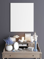 mock up poster with dressing table luxury interior