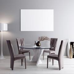 Mock up poster in dining room, modern background
