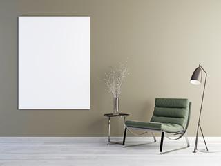 Blank poster, Scandinavian design interior