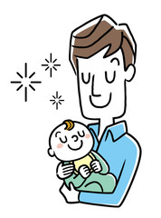 イラスト素材:赤ちゃんを抱っこする父親