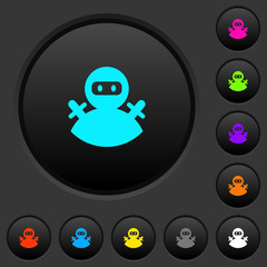 Ninja avatar dark push buttons with color icons