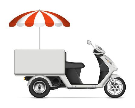 Realistic food cart vector illustration