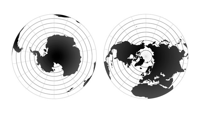 Arctic and antarctic poles globe hemispheres. World map view from space isolated on white