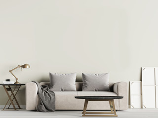 Livingroom interior wall mock up with fabric sofa and pillows on olive background.