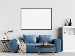mock up poster frame in interior background with blue sofa, Scandinavian style