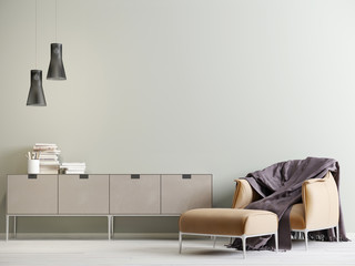 Modern interior with a chest of drawers and a chair in a modern style with empty wall.