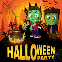 Halloween Party Poster with Frankenstein and the zombie. Vector illustration.
