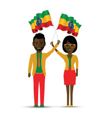 Ethiopia flag waving man and woman