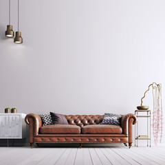 empty wall in classical style with leather sofa and plant.