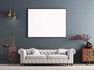 mock up poster on gray wall in interior classical style with white sofa, and decor.