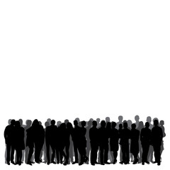 isolated, silhouette of a crowd, group of people