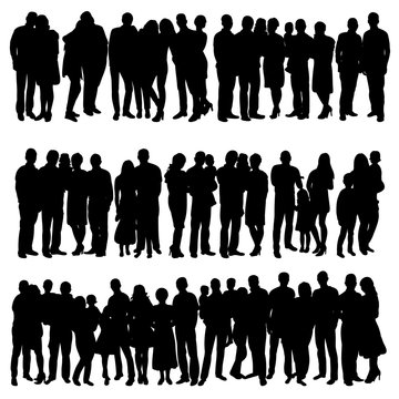 silhouette of a crowd, group of people