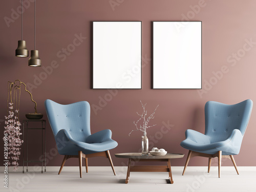 Mock up poster in pastel modern interior with burgundy wall soft