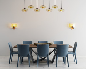Modern minimalistic dining room interior with beige empty walls, a concrete table with blue chairs near it.