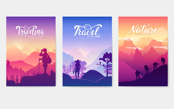 Tourist climb to the top of the mountain. Rest in the national Park with a tent and barbecue. limbers with equipment ascend to the peak. silhouette nature of morning and evening rays sun