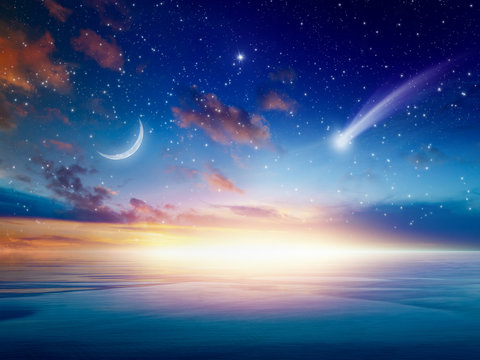 Falling comet, rising crescent moon and stars