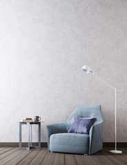 mock up empty wall in modern interior background, Scandinavian style