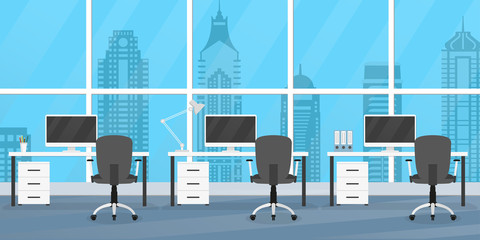 Office interior with furniture. Office desks, chairs and computers. Modern business workplace or workspace design. Vector illustration.