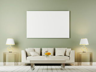 Living room interior wall mock up with white sofa, pillows and lamps on oliwe background