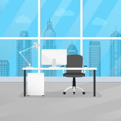 Office room interior with desk or table, chair and computer. Modern business workplace or workspace design. Vector illustration.