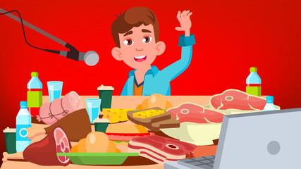 Mukbang Eating Show Vector. Guy. Food Challenge. Video Blog Channel. Illustration