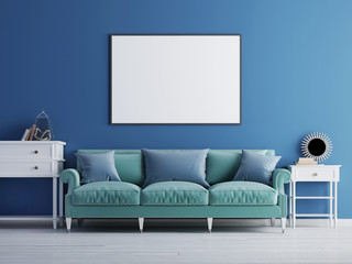 Mockup poster on the wall, luxury living room, blue classic sofa and wall.