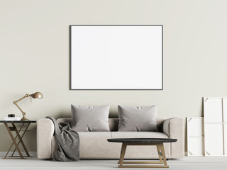 Living room interior wall mock up with sofa, pillows and lamp on white background