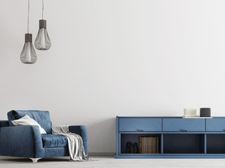 Contemporary interior with blue furniture with mock up tmpty wall.