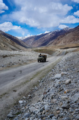 Pamir Highway or M41 Highway through Wakhan Valley near Afghanistan border, Tajikistan.