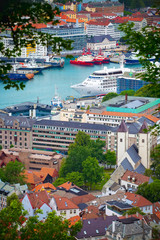 Bergen, Norway cityscape with downtown and boats aerial view