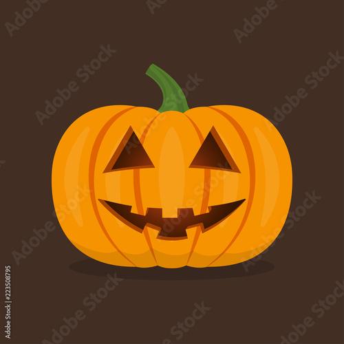 Halloween Pumpkin Vector.Halloween Pumpkin With Smile Face Cute Happy Pumpkin Vector
