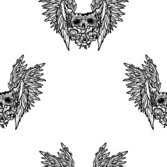 Vector seamless pattern with a human skull,wings and flowers. Gothic brutal skull. Angel. For print t-shirts or book coloring.