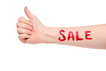 Closeup of female hand with pale skin pointing or touching isolated on white background. Sale the inscription on hand.
